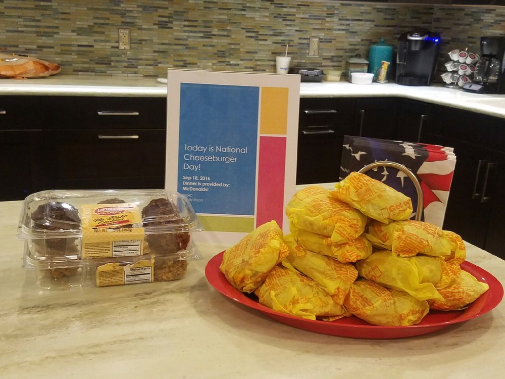 McDonald's in Fort Smith donated cheeseburgers to the Family Room for National Cheeseburger Day. Yum!!