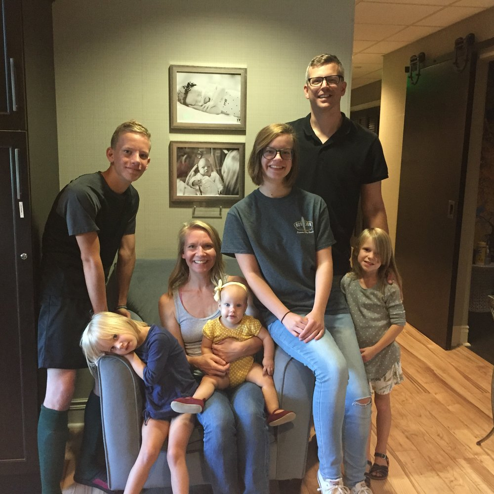 We love when our families drop by with happy healthy little ones (and food!). The Krout Family brought dinner to the Rogers Family Room last week. They stayed with us when their youngest was born last year. In fact, that's her in the bottom picture on the wall! How precious are they? <3