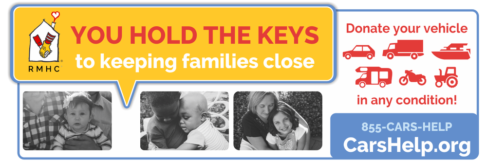 You hold the keys to keeping families close. Donate your vehicle in any condition! 855-CARS-HELP or CarsHelp.org