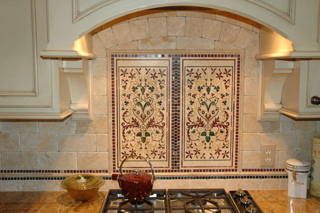 We used an Italian stone called Dore Royal in a 4'' x 8'' format.  Note the tight grout joint.