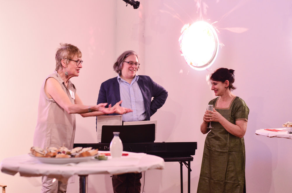 - Cofounder Linda Cunningham welcomes artist Maria Scarpini and composer Jed Distler