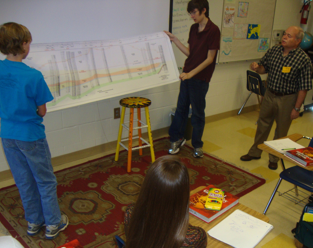 SGS Member Dr. Mike Roberts, far right, explains a geologic cross section to students.