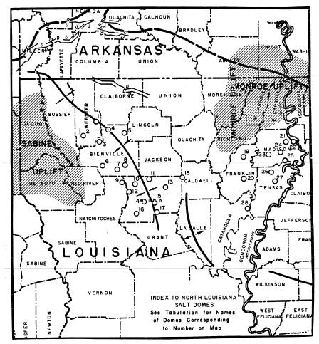 North Louisiana Map.Interior Salt Domes And Tertiary Stratigraphy Of North Louisiana