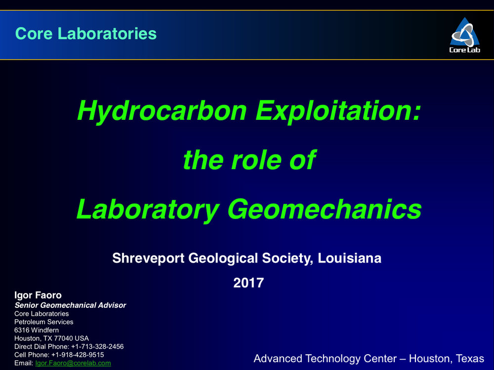 Corelab - Hydrocarbon Exploitation the role of Laboratory Geomechanics - Igor Faoro - Slide 1.jpg
