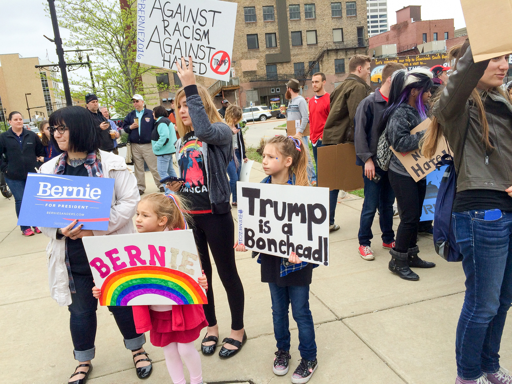 38. Trump and Sanders in South Bend, Indiana (May 2, 2016), posted on May 7, 2016.