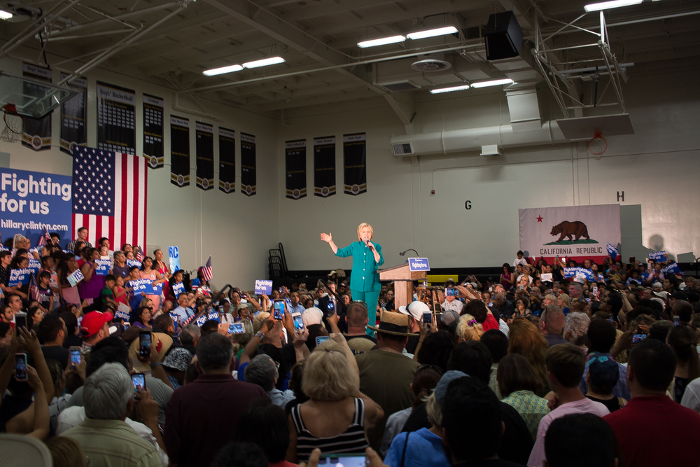 Hillary Clinton speaking June 4, 2016, in the Thomas Edison High School gymnasium, Fresno, California.