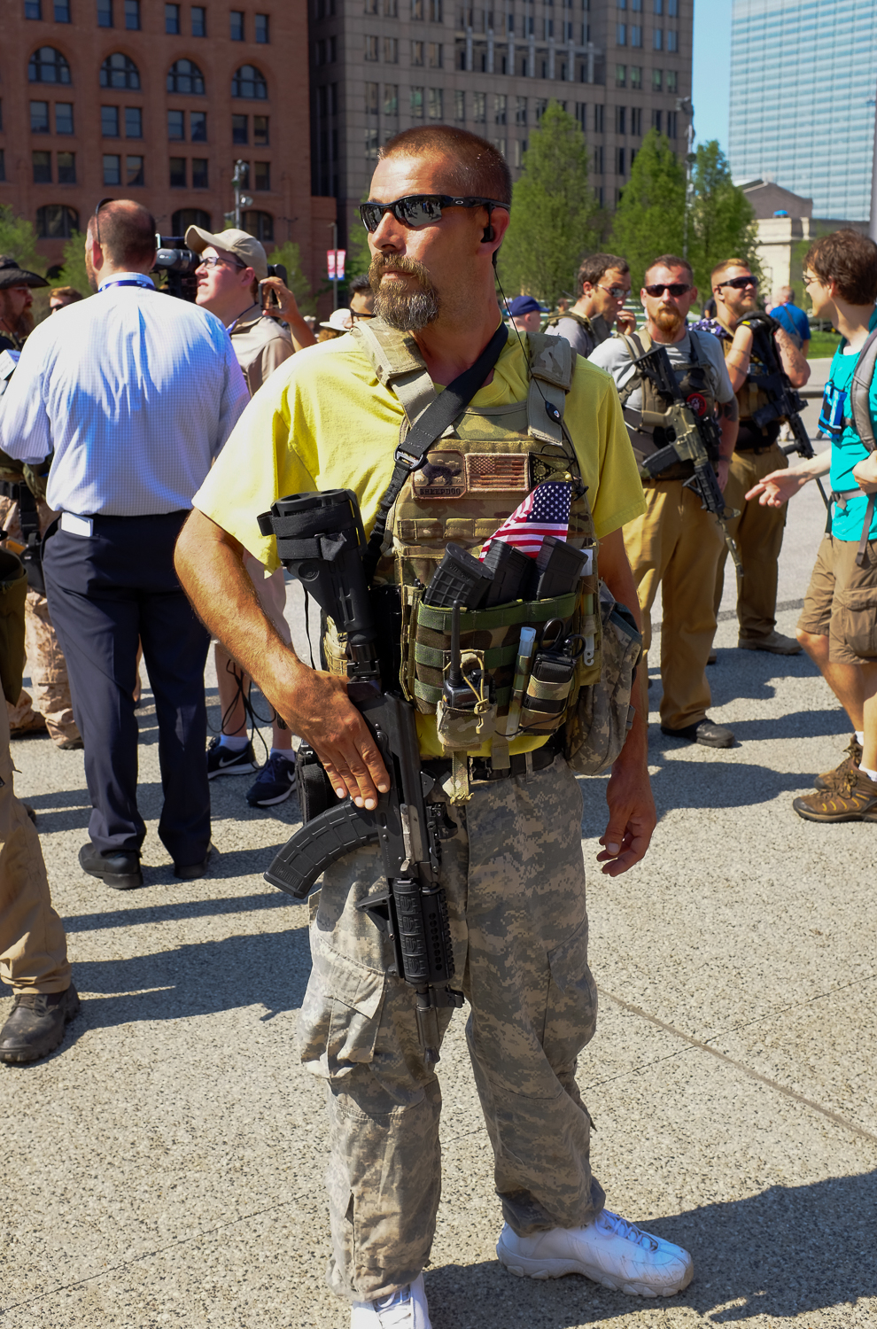 One of eight Ohio Minutemen who showed up at Public Square on Wednesday afternoon.