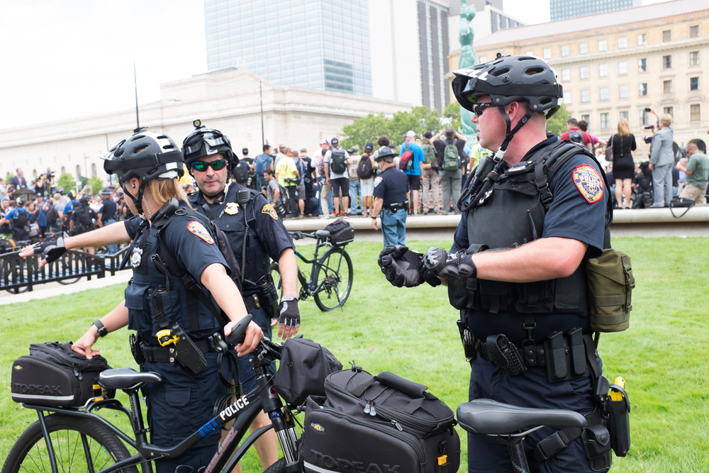 Bicycle cops on The Mall, during the BLM/religious fanatic shout down.