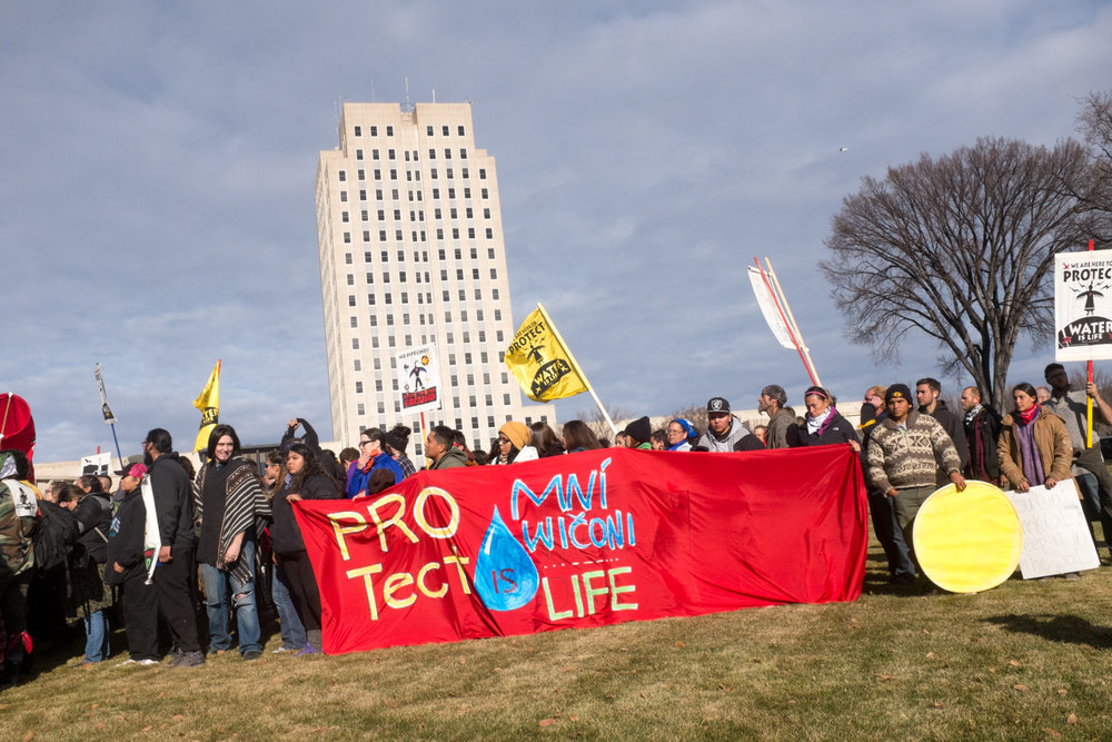 Demonstration at the State Capitol in Bismarck, North Dakota, November 14, 2016.