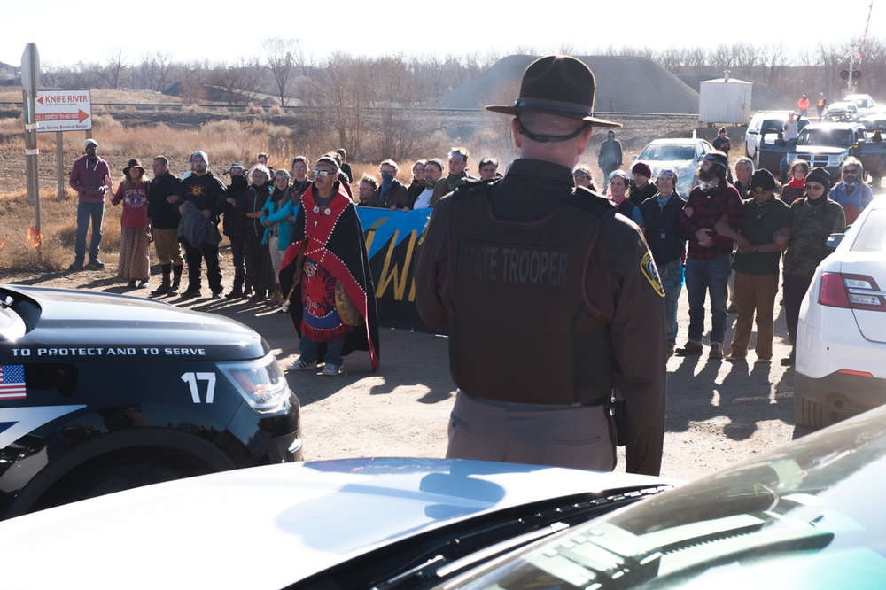 A peaceful demonstration, five miles west of Mandan, North Dakota, blocking a county road leading to a camp for people working on the pipeline. November 12, 2016.