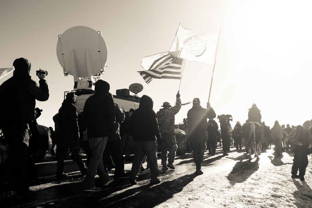 A peaceful demonstration on Highway 1806, next to the Oceti Sakowin camp.