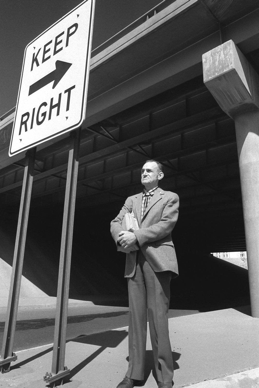 Soapbox preacher, I-10 near El Paso, Texas, 1983