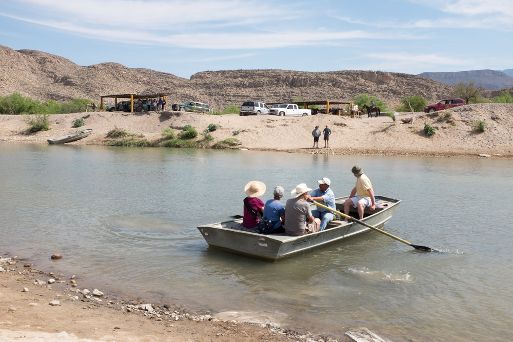 Tourists crossing the Rio Grande at Boquillas del Carmen.