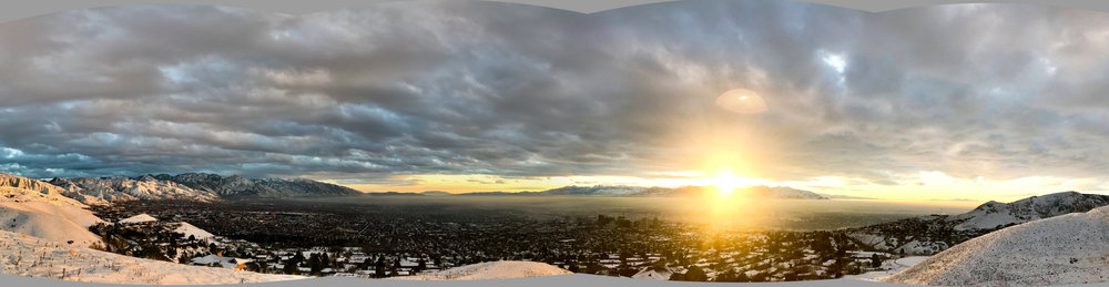 A stitched panorama of the Salt Lake valley, from the north end.