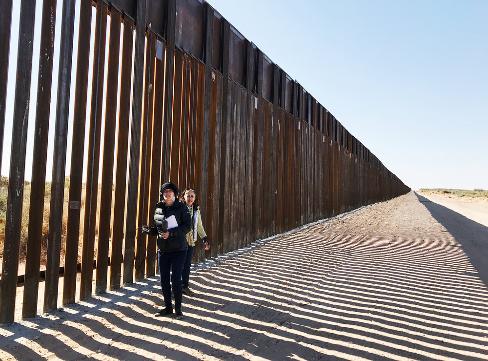 Katie Davis and Molly Molloy at the wall south of Las Cruces.