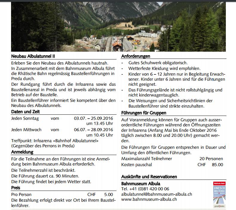 Tunnelführung II Preda Tunnelbau Bergün