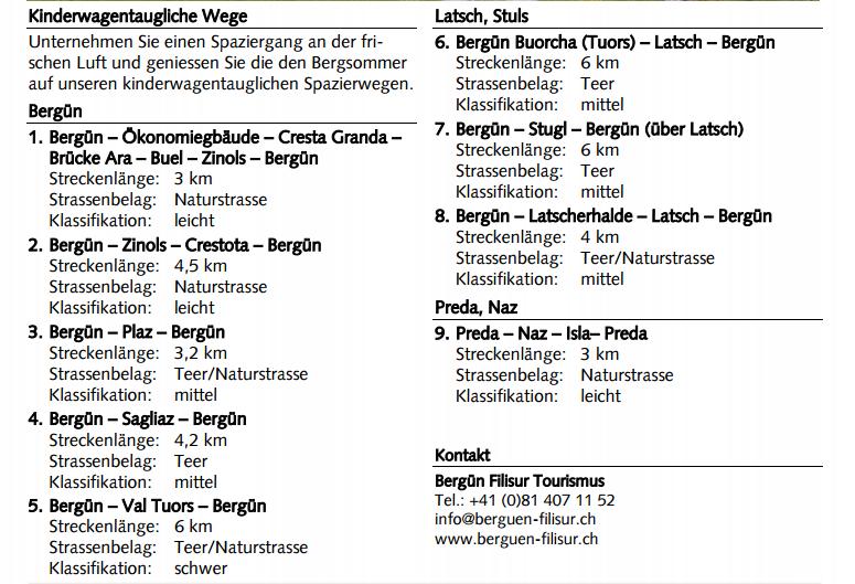 Kinderwagen Karte Preda Bergün Berguen