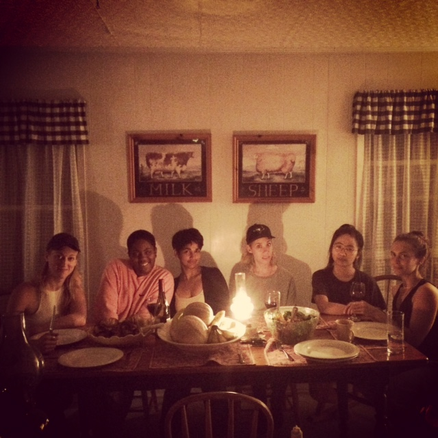 Hannah Cheeseman, Onyeka Igwe, Aliya Pabani, Lindsey Clark, Amy Lam and Liz Peterson enjoy dinner at StoneBoat Farm