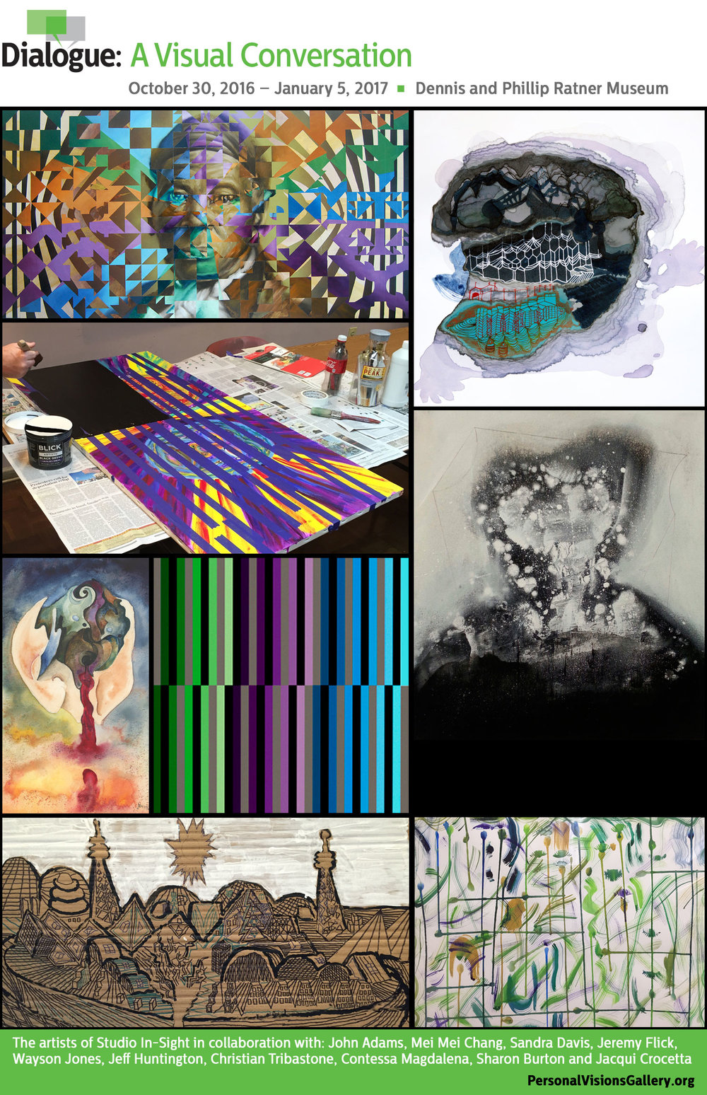 Clockwise, from top left: works by Jeff Huntington, Mei Mei Chang, Wayson Jones, Jay Armstrong, Paul Spratlin, Dan Ellis, Jeremy Flick and Mack James.
