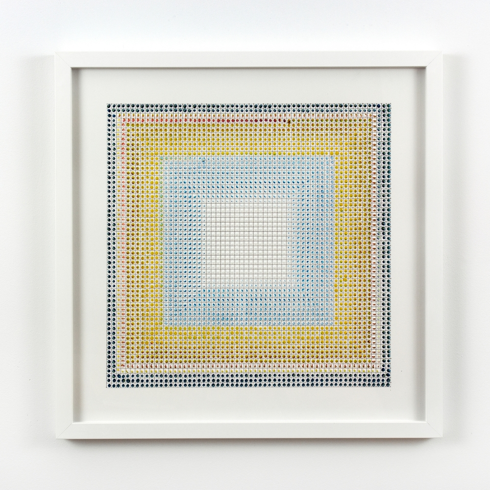 Untitled (BYR), acrylic on paper, 2015, 19 x 19in | 48 x 48cm