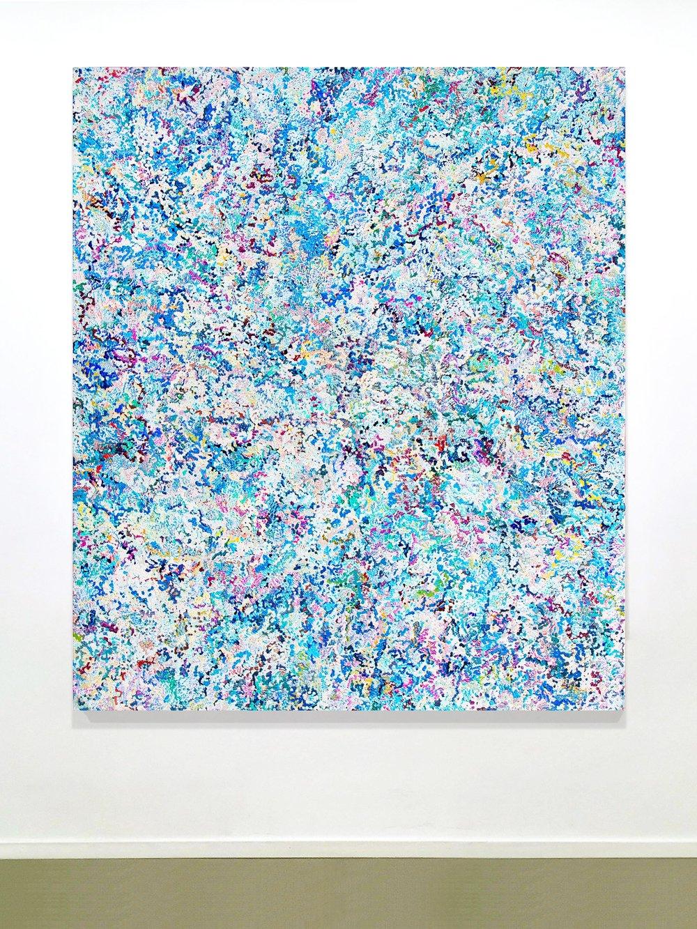 1st Amalgamation, acrylic on canvas, 2016, 60 x 70in   152 x 178cm