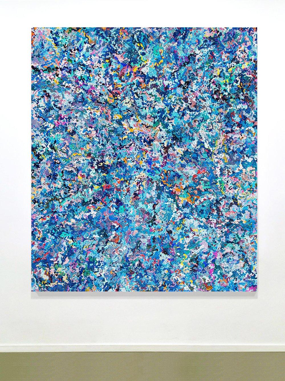 2nd Amalgamation, acrylic on canvas, 2016, 60 x 70in   152 x 178cm