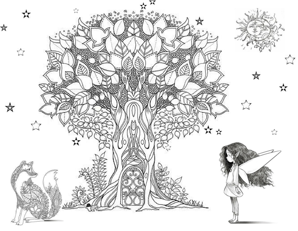 Tree of Life colouring page fairy girl.png