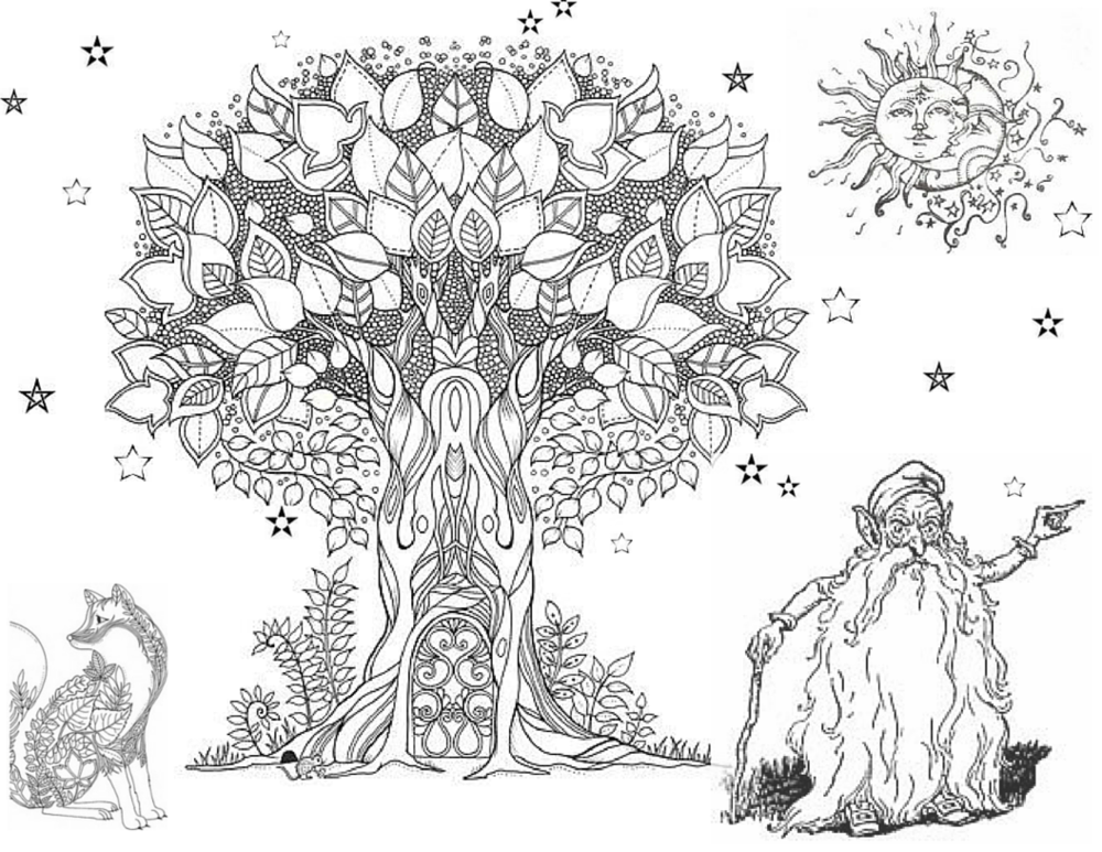 Tree of Life colouring page old elf.png