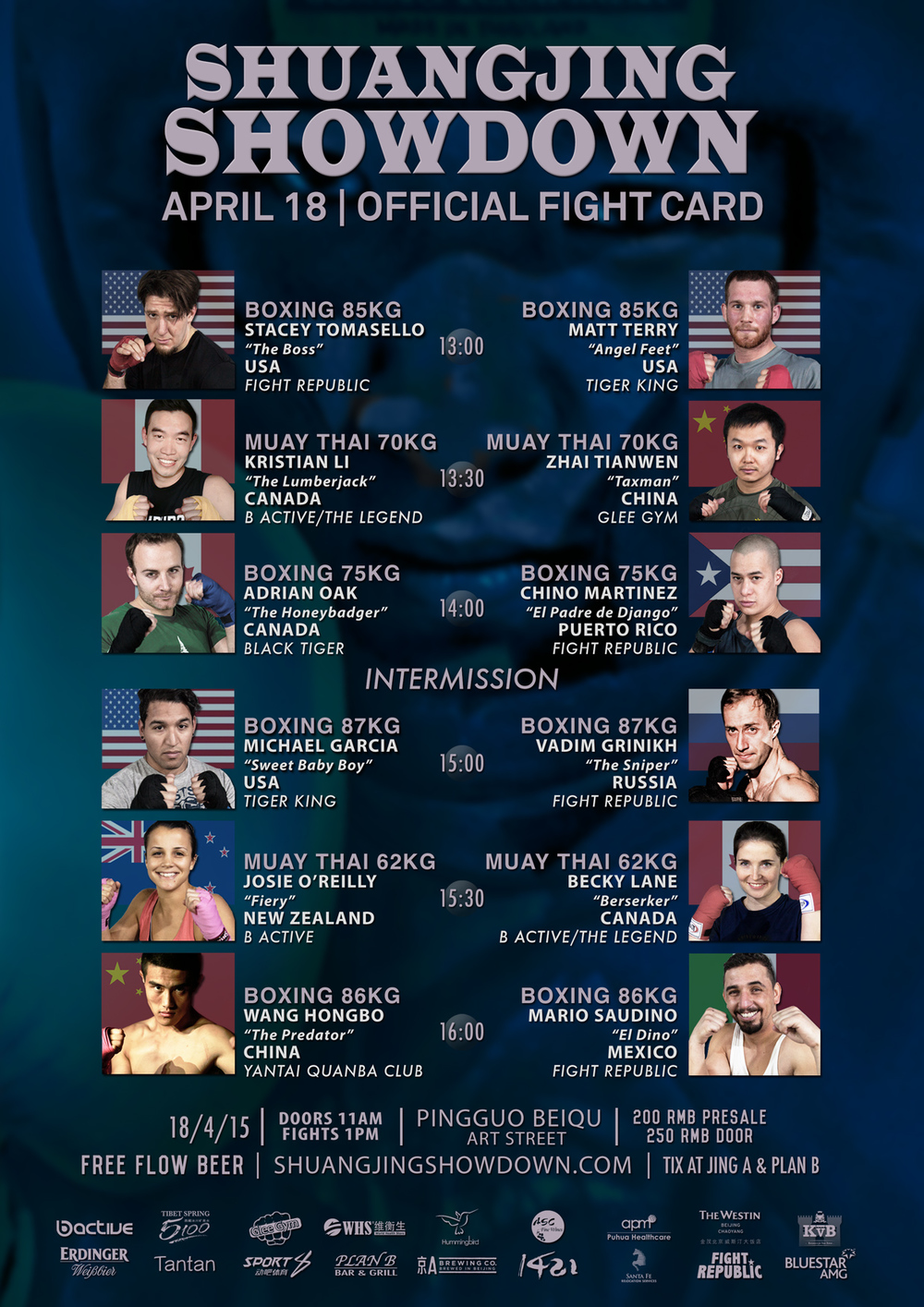 Shuangjing Showdown Boxing Muay Thai fight card