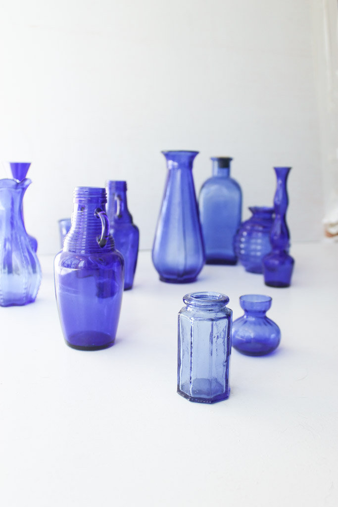 cobalt blue glass accent pieces