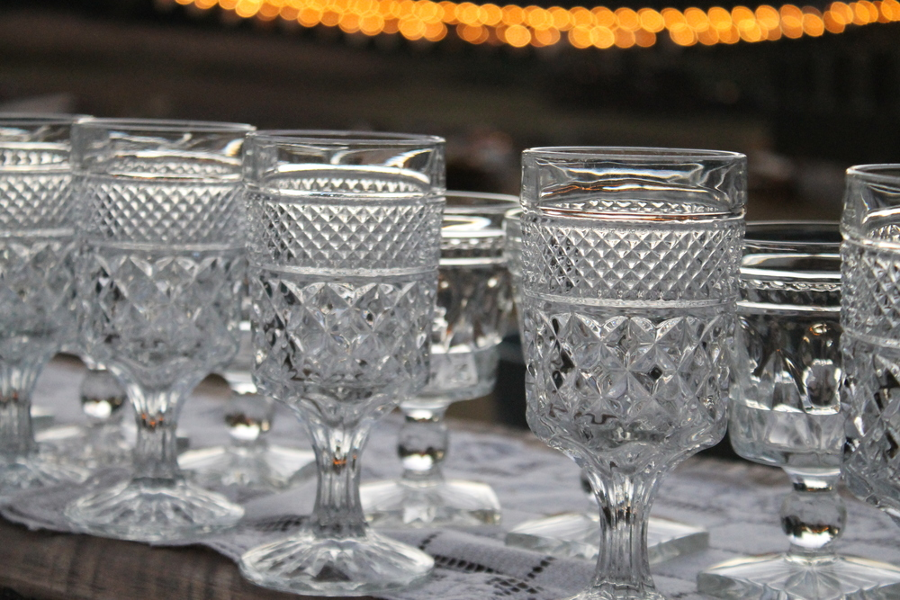 Matching Southern Vintage  Wexford  and  Colony Park Lane  water goblets at Katie and Zac's beautiful rustic  Vinewood Plantation