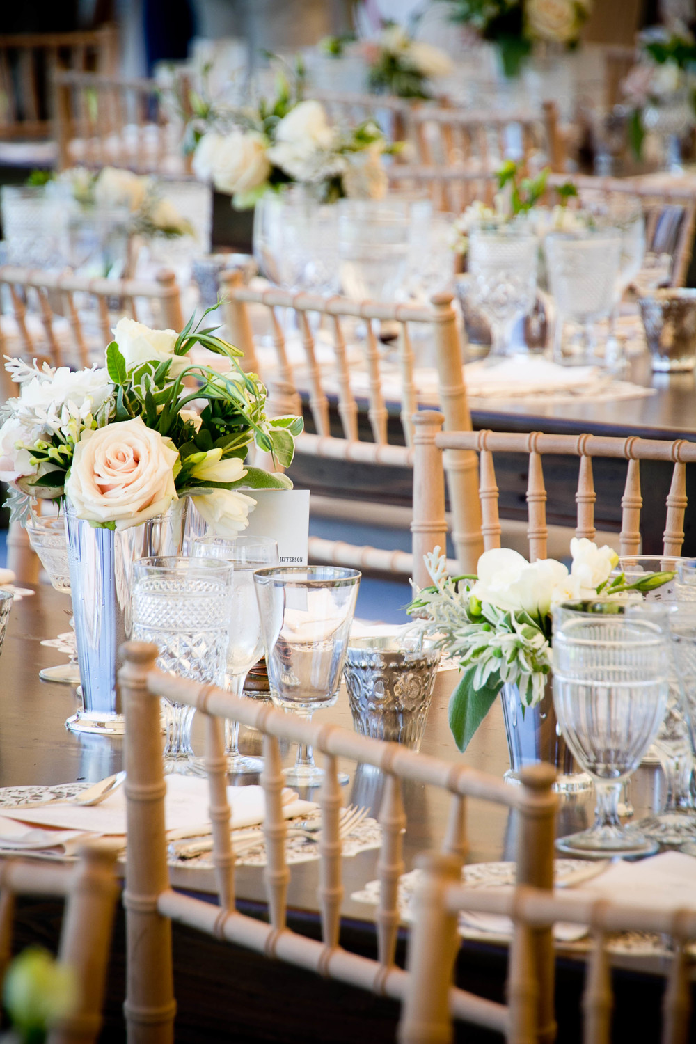 Southern Vintage will travel!  Gorgeous Asbury Park, New Jersey beach wedding with three vintage clear glasses per table setting.