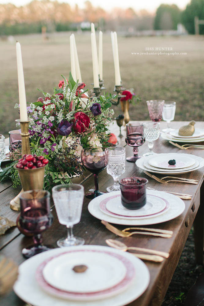 Mix our clear stemware with your accent color as seen here on our table setting at  Morgan View Farm . Photo by  Jess Hunter Photography .
