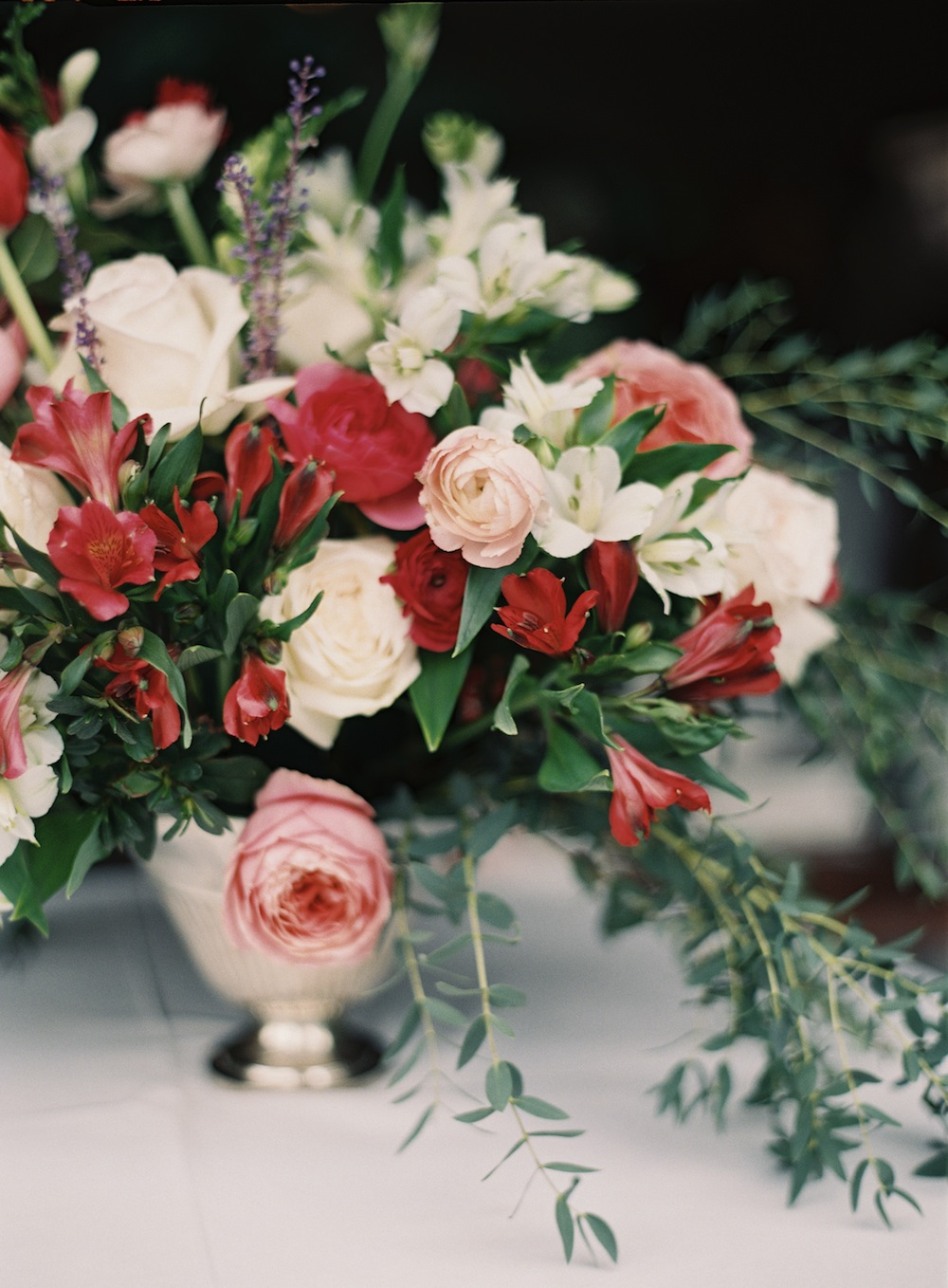 The floral arrangements in our vintage silver vessels were stunning!