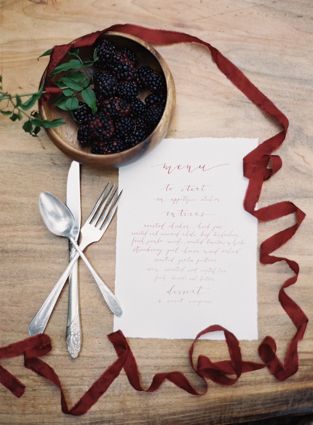 Love that our vintage silver flatware were included in the photos of these beautiful handlettered menus.