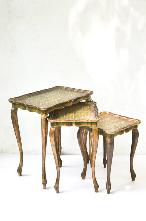 Southern vintagetablesgreen and gold nesting tables leonardo green and gold nesting tables leonardo watchthetrailerfo