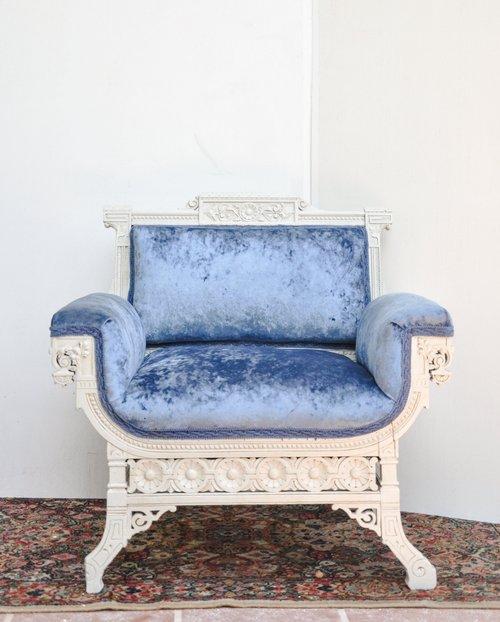 Light Blue Velvet Chair. Henry - Southern VintageBlueLight Blue Velvet Chair. Henry