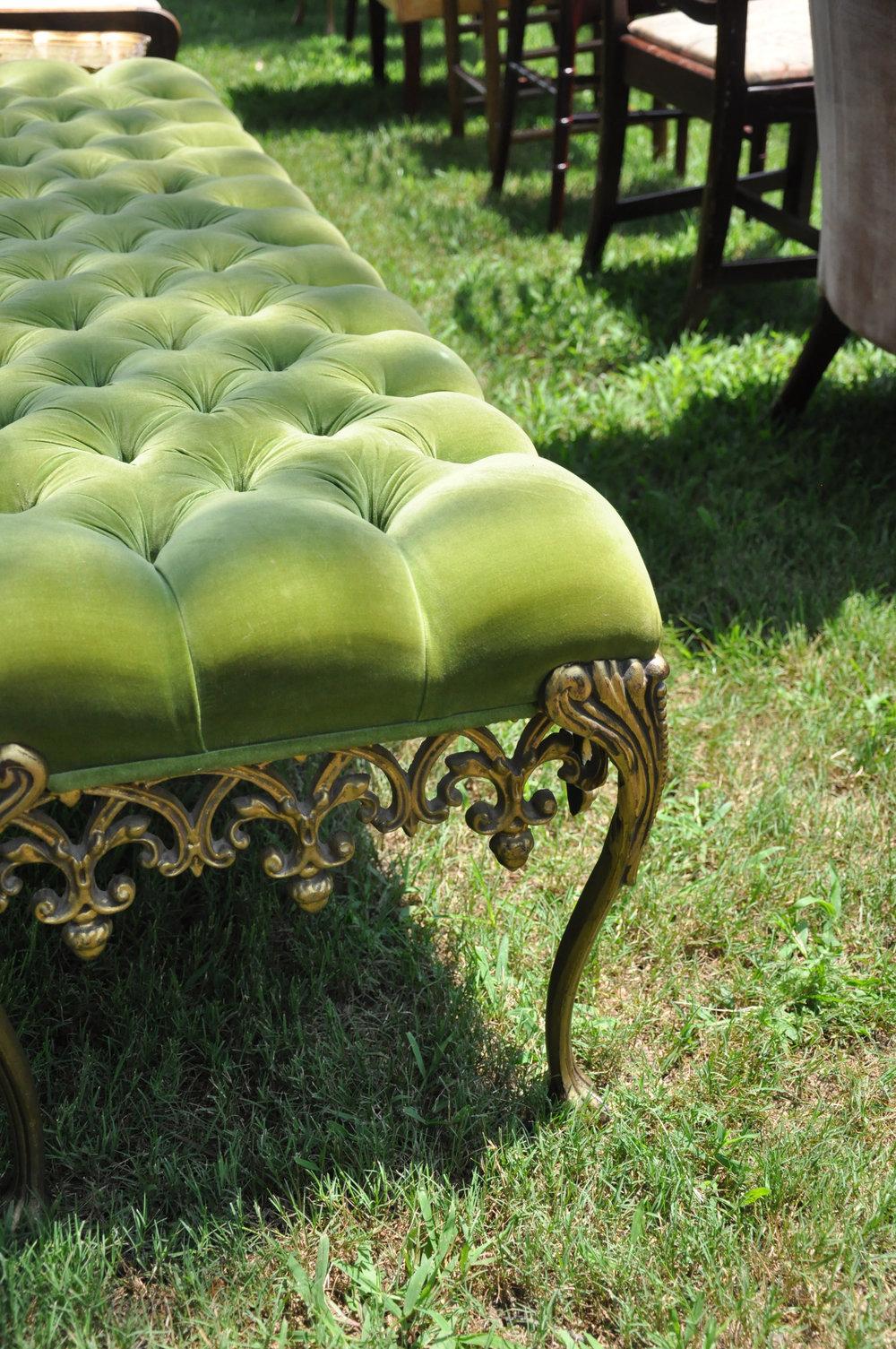 Southern Vintage Green Velvet Bench