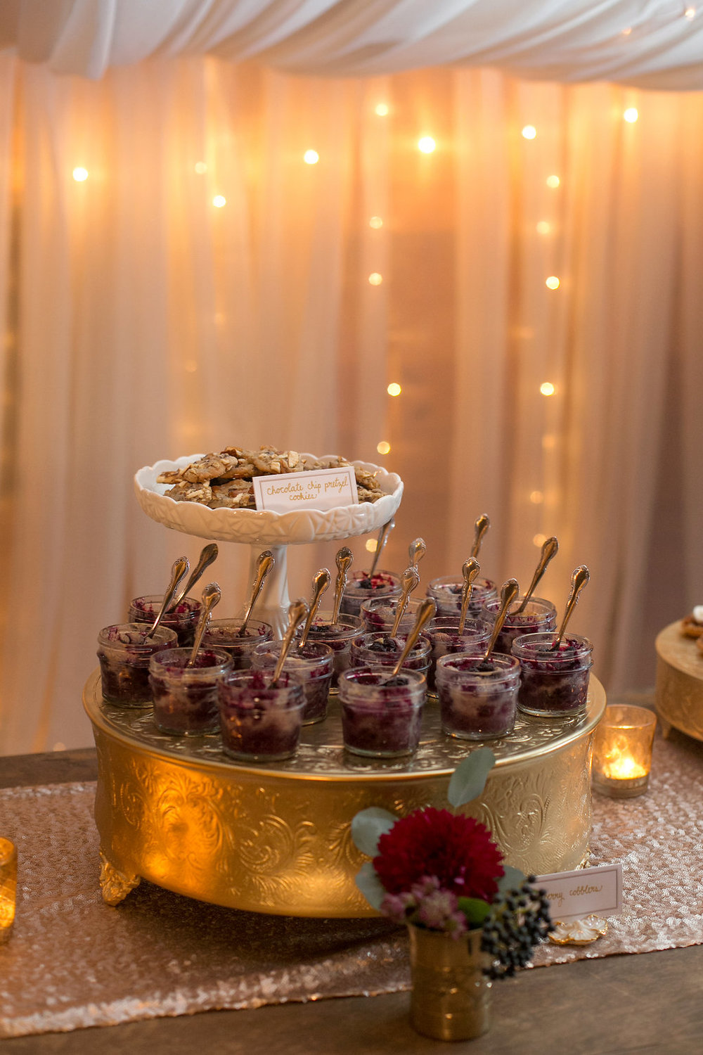 Gold and Burgundy Dessert Bar