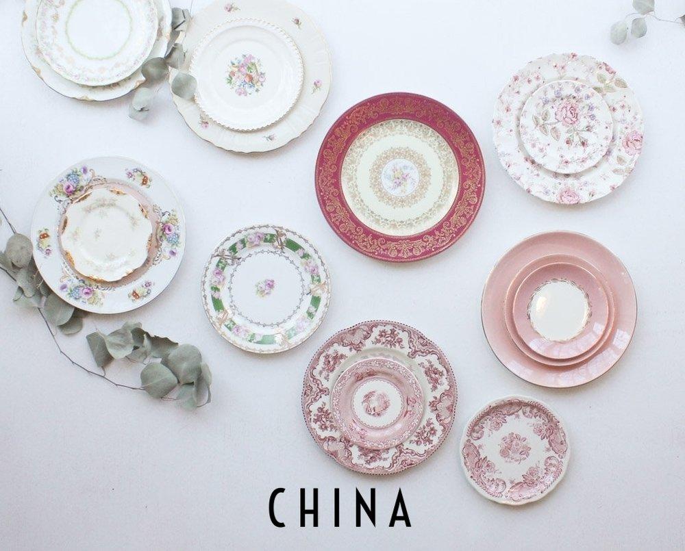 Southern Vintage Rental Pink China Plates