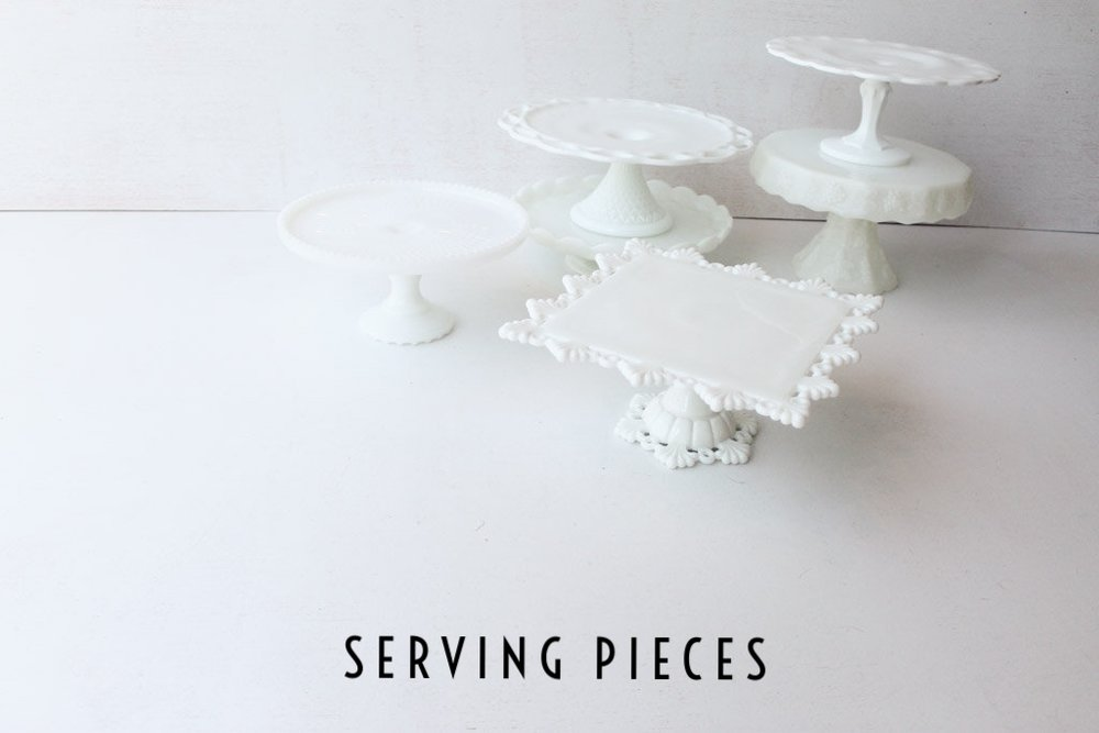 Southern Vintage Rental Cake Stands Milk Glass