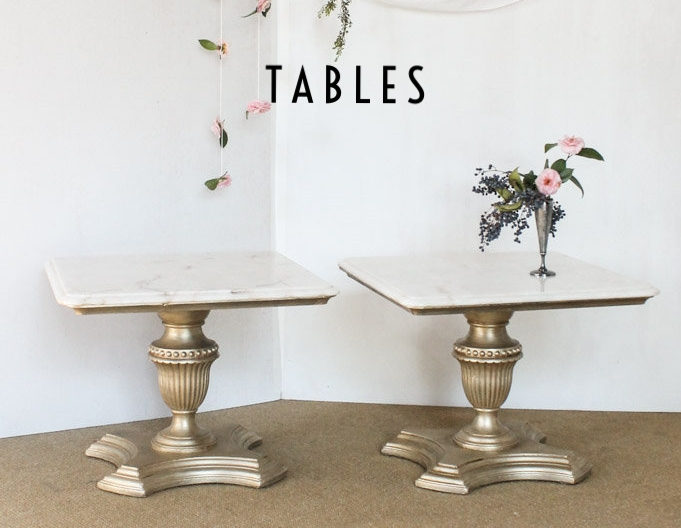 Southern Vintage Gold and Marble Side Tables