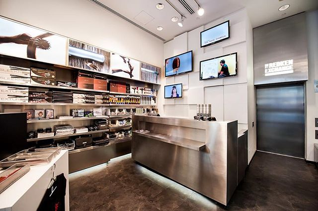The old Redken 5th Avenue store with its glowing stainless steel reception desk and EPIC tool wall. Video screens behind the desk featured videos of the Redken Performing Artists who teach upstairs at the Exchange :) ⠀ ⠀ ⠀ #redken  #millardkwondesign #millardcollection #nyc #newyork #newyorkcity  #americansalon #behindthechair_com #americansalon #modernsalon #beautylaunchpad #saloncentric #hair #salon #salondesign #salonstyle #stylist #hairstylist #interiordesign #hairsalondesign #hairsalon #design #love #blackandwhite #interiordesign #renovation #hairstyles #inspiration #designer #interiordesigner