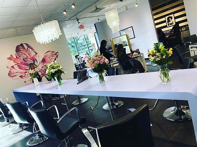 in love with this bright and happy design we did for Genesis Salon in Mobile, Alabama. Sarah and Deanna wanted something feminine, bold and inspired by the story of the garden of eden. I love this space⠀ ⠀ ⠀ #redken #matrix #lorealprofessionnel  #millarddesign #millardcollection #americansalon #behindthechair_com  #modernsalon #beautylaunchpad #saloncentric #hair #salon #salondesign #salonstyle #stylist #hairstylist #interiordesign #hairsalondesign #hairsalon #design #love #blackandwhite #interiordesign #renovation #hairstyles #inspiration #designer #interiordesigner