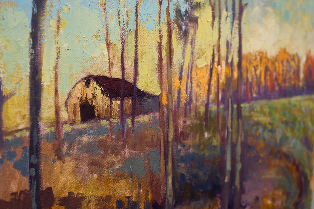 A close up of this work in progress, showing the texture of the pallet knife work.