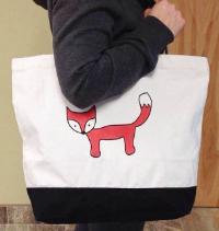 hi love greetings fox tote bag
