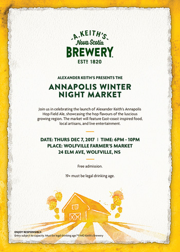 Alexander Keith's Annapolis Winter Night Market - We're delighted to join Alexander Keith's Brewery in celebration of their new Annapolis Hop Field Ale! We'll have 3 market exclusive holiday card designs inspired by the new ale for your beer lovers! We're also bringing lots more cards and stationery to help you gift like you mean it.Wolfville Farmer's Market24 Elm Avenue, Wolfville, NSThursday, Dec 76 - 10 pm