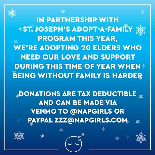 Feeling all warm and fuzzy inside and wanna share your love with others? Well this year, we're working with @stjosephctr and adopting 20 elders to share our love with. Participate with us by sending donations to PayPal and/or Venmo, details in pic 💞 $5 goes a long way ❤️🙏