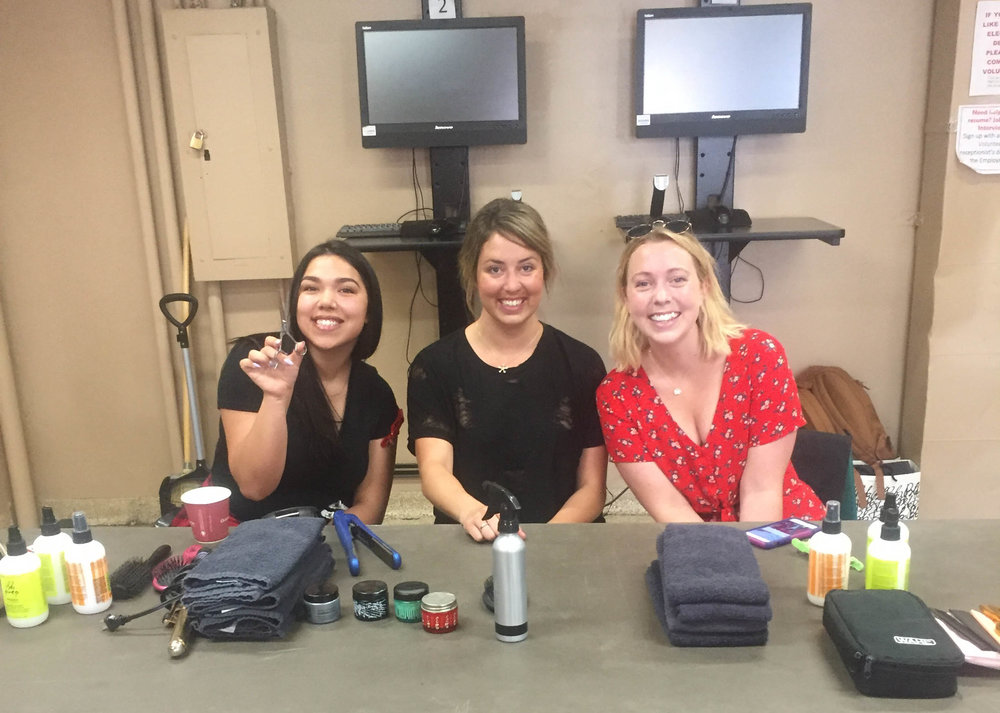Hotel Arts stylists Brenna, Kenna, and Ashley S. waiting to cut some hair!