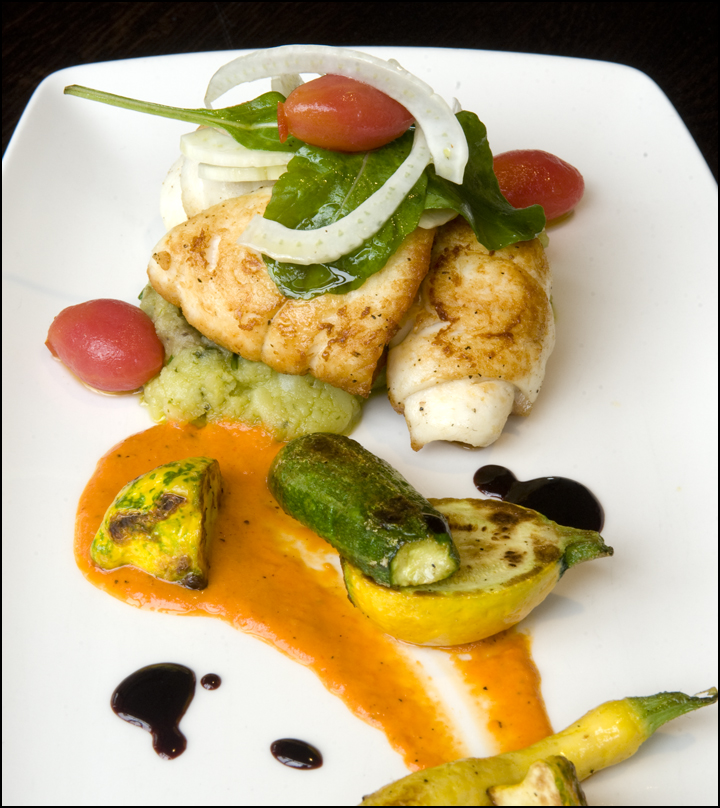 Local Flounder, EVOO Smashed Potatoes, Red Pepper Puree, Local Vegetables
